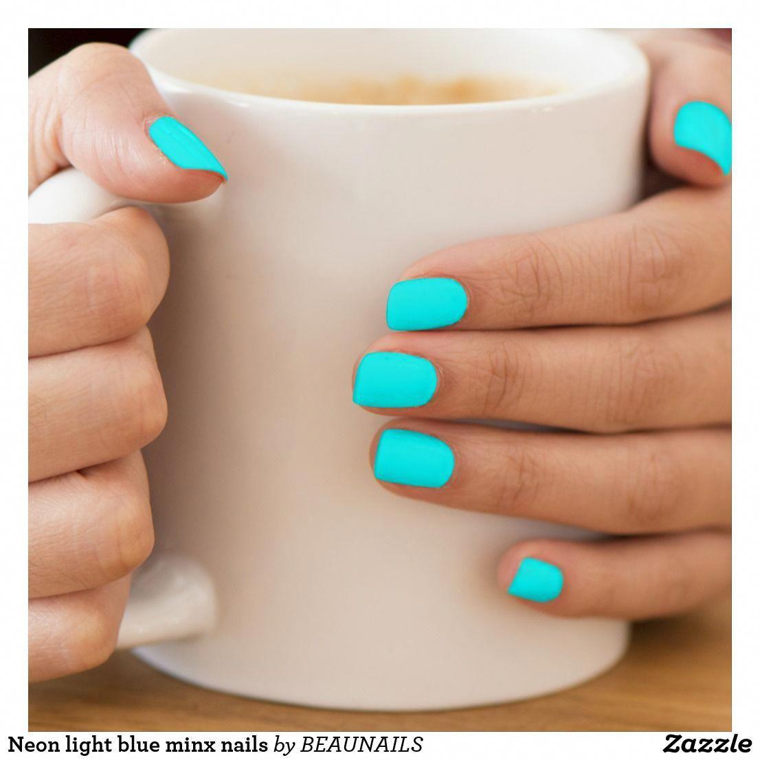 Neon light blue minx nails minx nail art | Zazzle.com