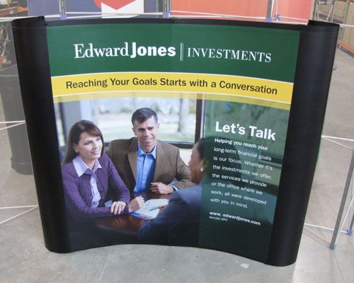 Proudly Showcasing The Latest Edward Jones Investments Curved Pop Up Display Edward Jones Investments Investing Financial Services