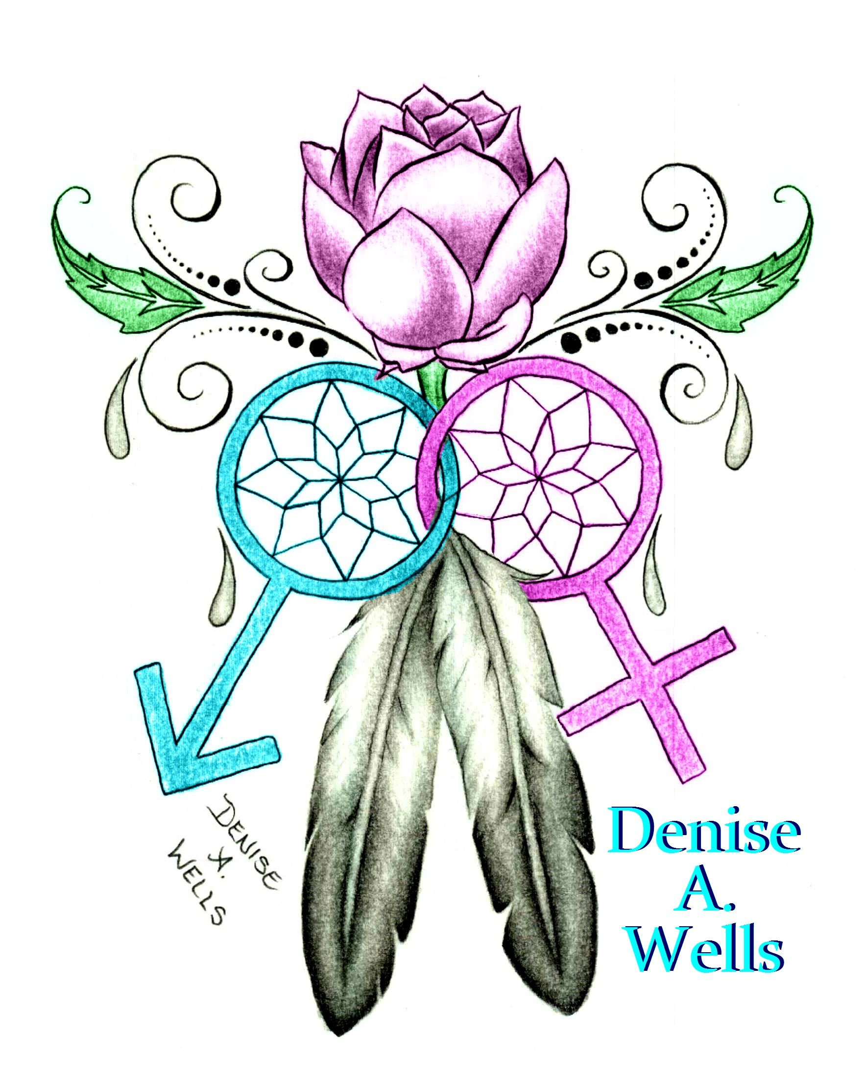 Dream Catcher Tattoo Design By Denise A Wells Including Lily Flower