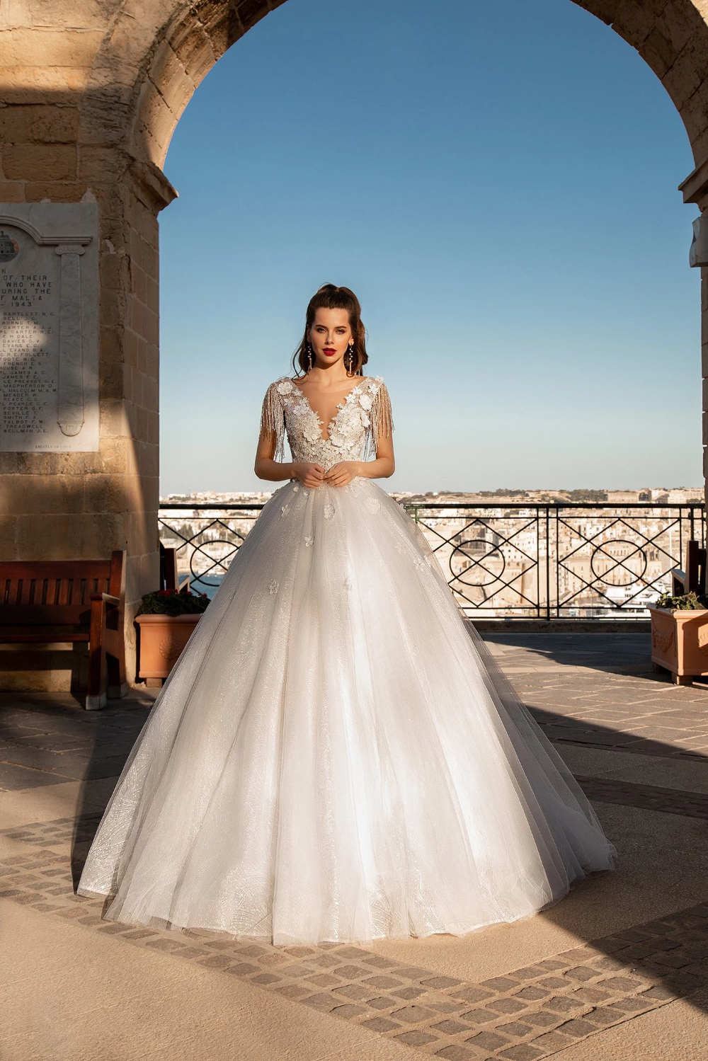 Montana beaded fringe ball gown wedding dress – KC Haute Couture ...