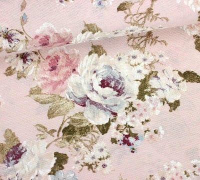 Dekostoff Feste Baumwolle Grosse Blumen Altrosa Grosse Blumen Altrosa Rosa