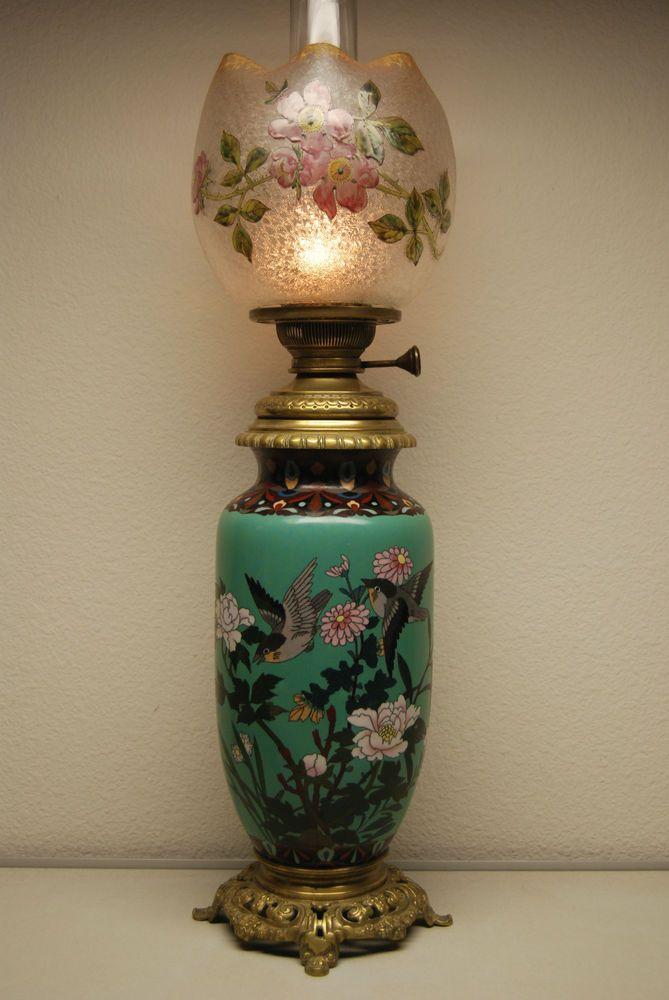 ANTIQUE FRENCH BACCARAT CLOISONNE ENAMEL ART NOUVEAU OLD OIL KEROSENE GWTW LAMP #ArtNouveau #BACCARATMATADOR