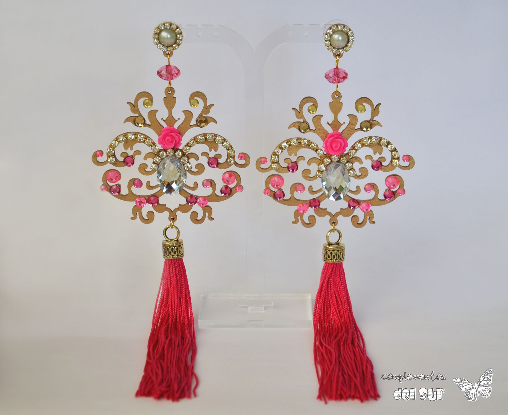77046f0cf764 Conjunto Bisuteria abanico Flamenca Set de complementos Sevillana Flor