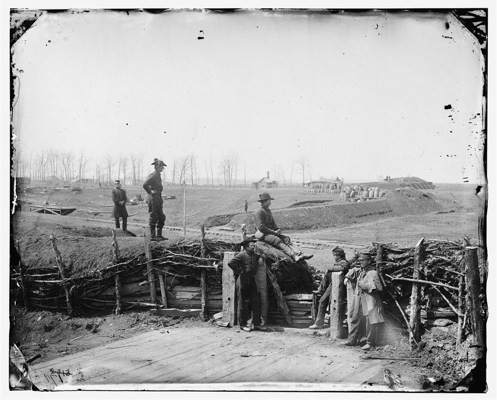 Confederate Fortifications, with Federal Soldiers - Manassas, VA, March 1862