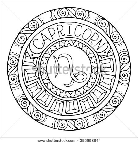 Zodiac Sign Of Capricorn And Constellation In Mandala With Ethnic