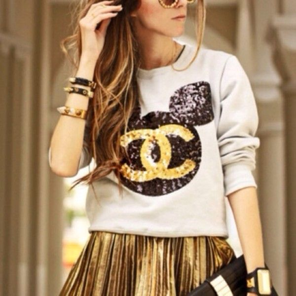 f97eca3b00e9e Sweater: white and black gold sparkle disney chanel minnie mouse mickey  mouse ears