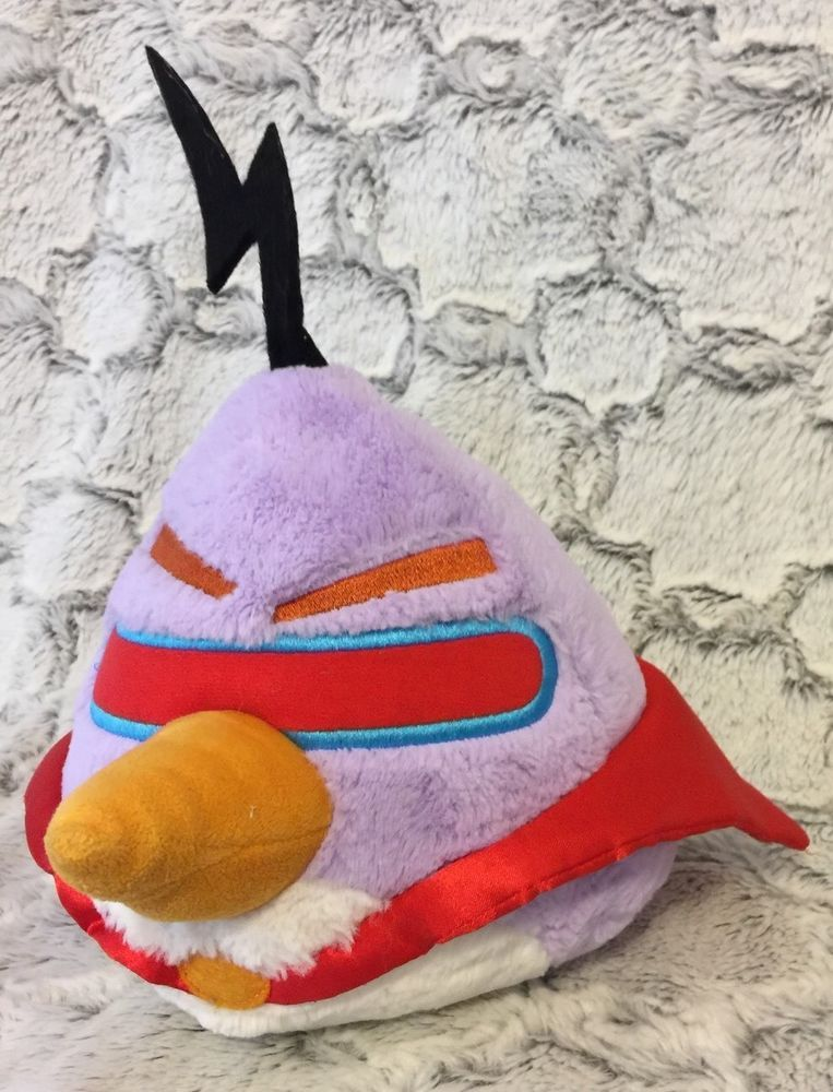 76a83634487 Angry Birds Space Lazer Purple Bird with Red Cape Stuffed Plush ...