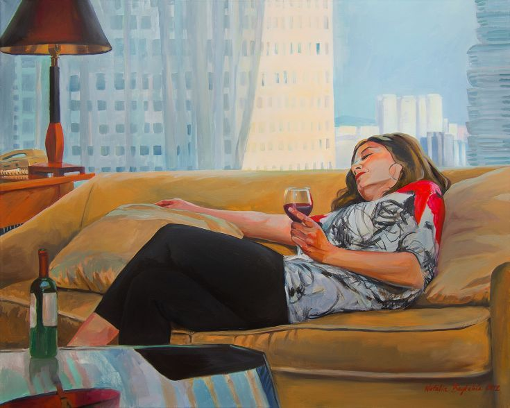 """ARTFINDER: """"Waiting for your call"""" by Natalia Baykalova - Woman are waiting for call in Marriott Hotel in Singapore. She is drinking wine, she is relax and beautiful."""