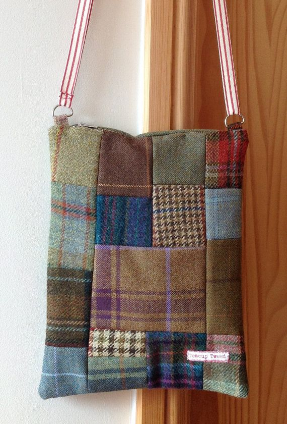 b758bce9165a0 Patchwork tweed bag   網袋   Bags, Fabric tote bags, Quilted bag