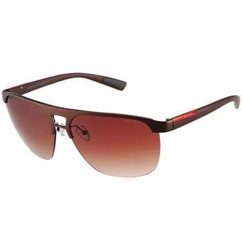 02940de1ecd Prada Sporty Square Brown Frame Linea Rossa Logo Sunglasses 308310 ...