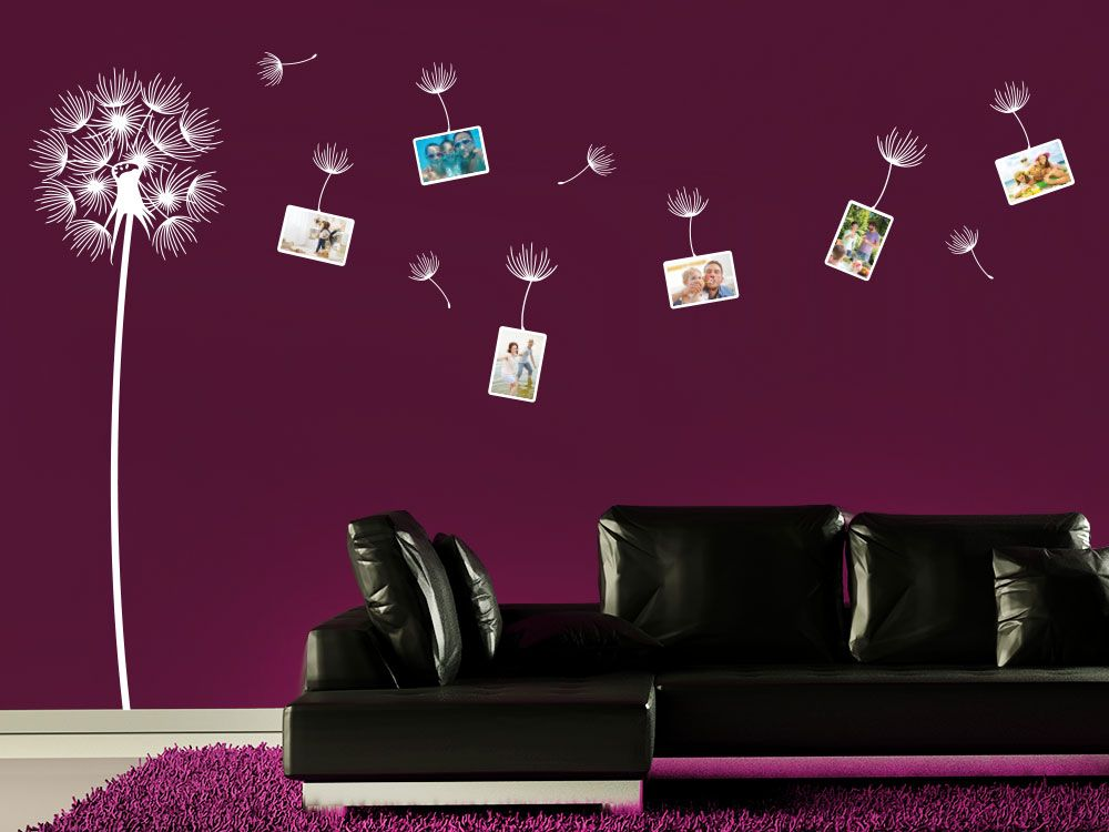 Pusteblumen Wandtattoo mit Fotorahmen und Samen für die frische - wandtattoos für wohnzimmer