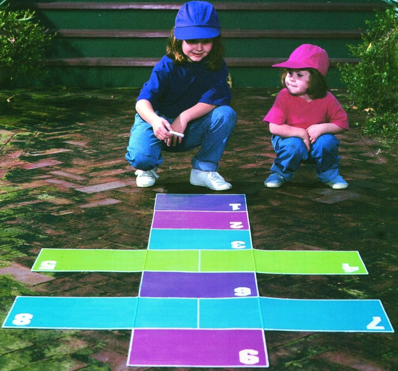 Hopscotch on the Go Plastic Canvas ePattern is part of Kids Crafts Canvas How To Make - Fun will be only a hop, a skip, and a jump away with this colorful hopscotch game  This kidpleasing project folds up, so it's easy to take along to a friend's house  At home or anywhere else, it''ll keep youngsters entertained indoors or out  The design is stitched using worsted weight yarn and 7 mesh plastic canvas