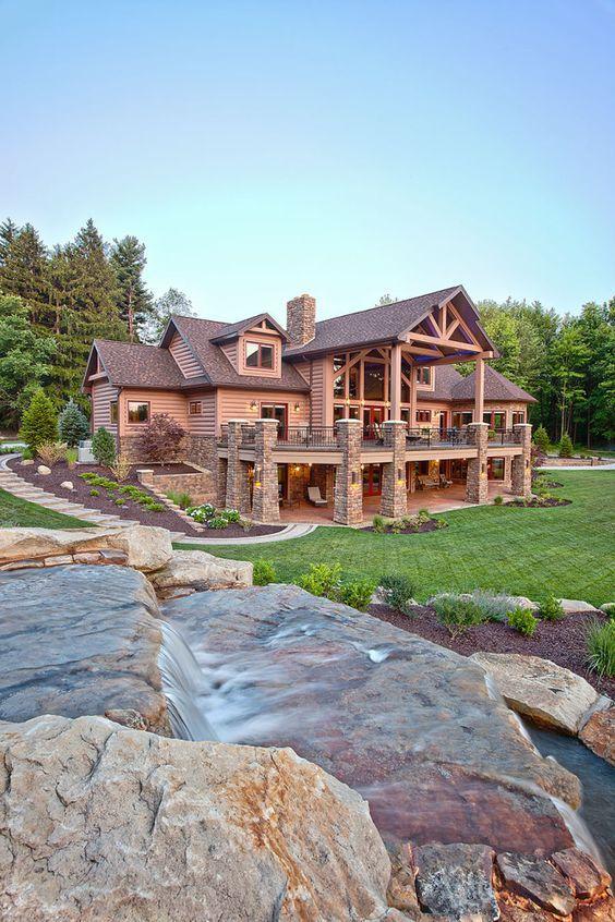 49 Most Popular Modern Dream House Exterior Design Ideas 3 In 2020: Dream House Exterior, Log Homes, Log Cabin Homes