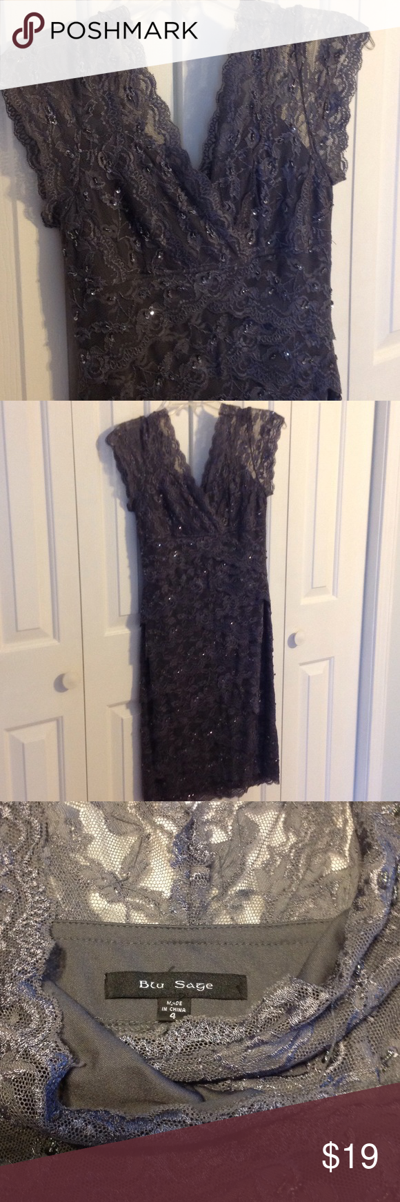 Lace below knee dress  Dark Gray Sequin u Bead Lace Dress Pewter colored Lace Dress Vneck