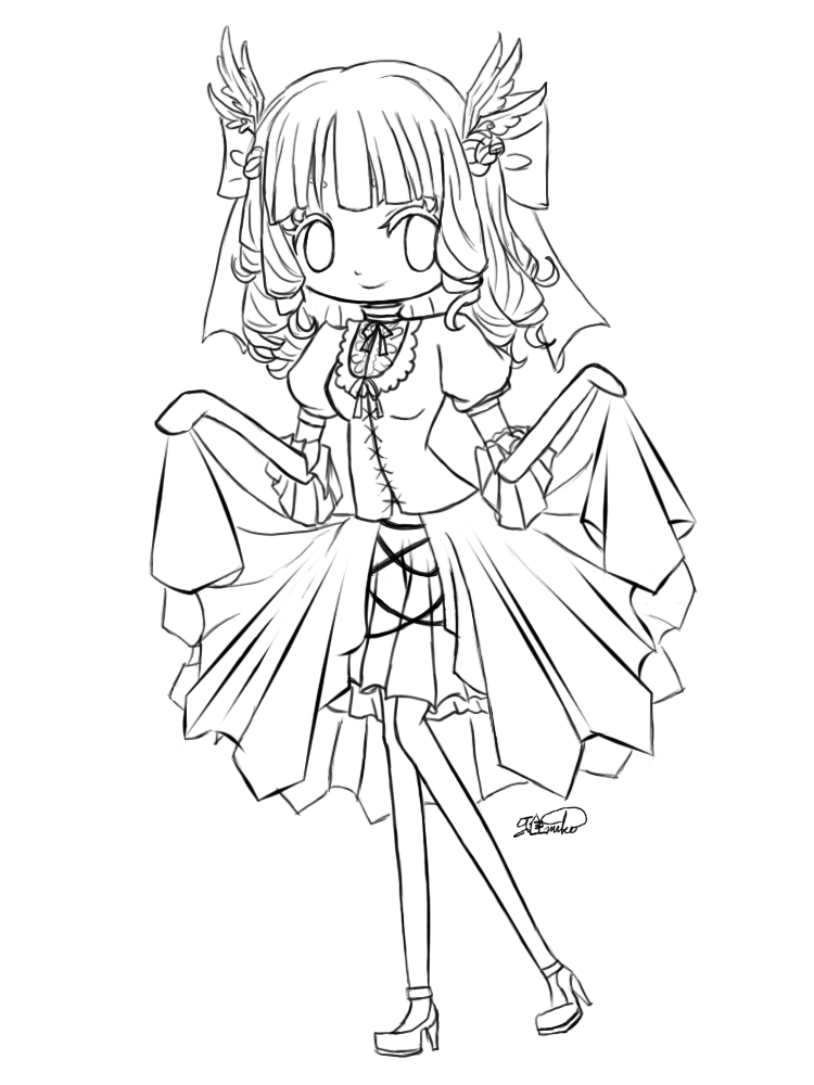 Chibi girl crying colouring pages cute