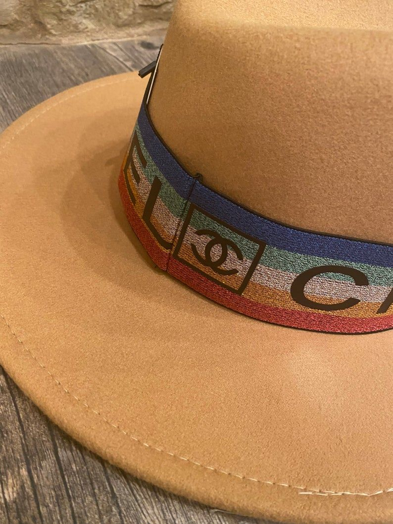 Designer Inspired Cc Fedora With Hat Band Upcycled Trucker Etsy In 2021 Hat Band Design Inspiration Hats