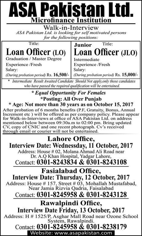 Asa Pakistan Limited Microfinance Institution Jobs  In Punjab