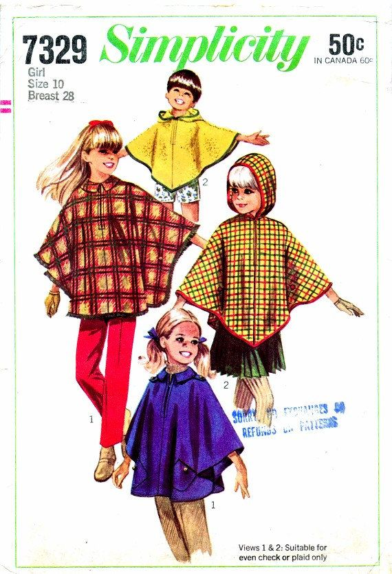 1960s Simplicity 7329 Pattern Girls Hooded Cape