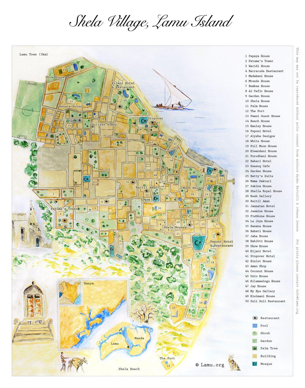 Lamu Island Accommodation Map Lamu Archipelago Pinterest Kenya