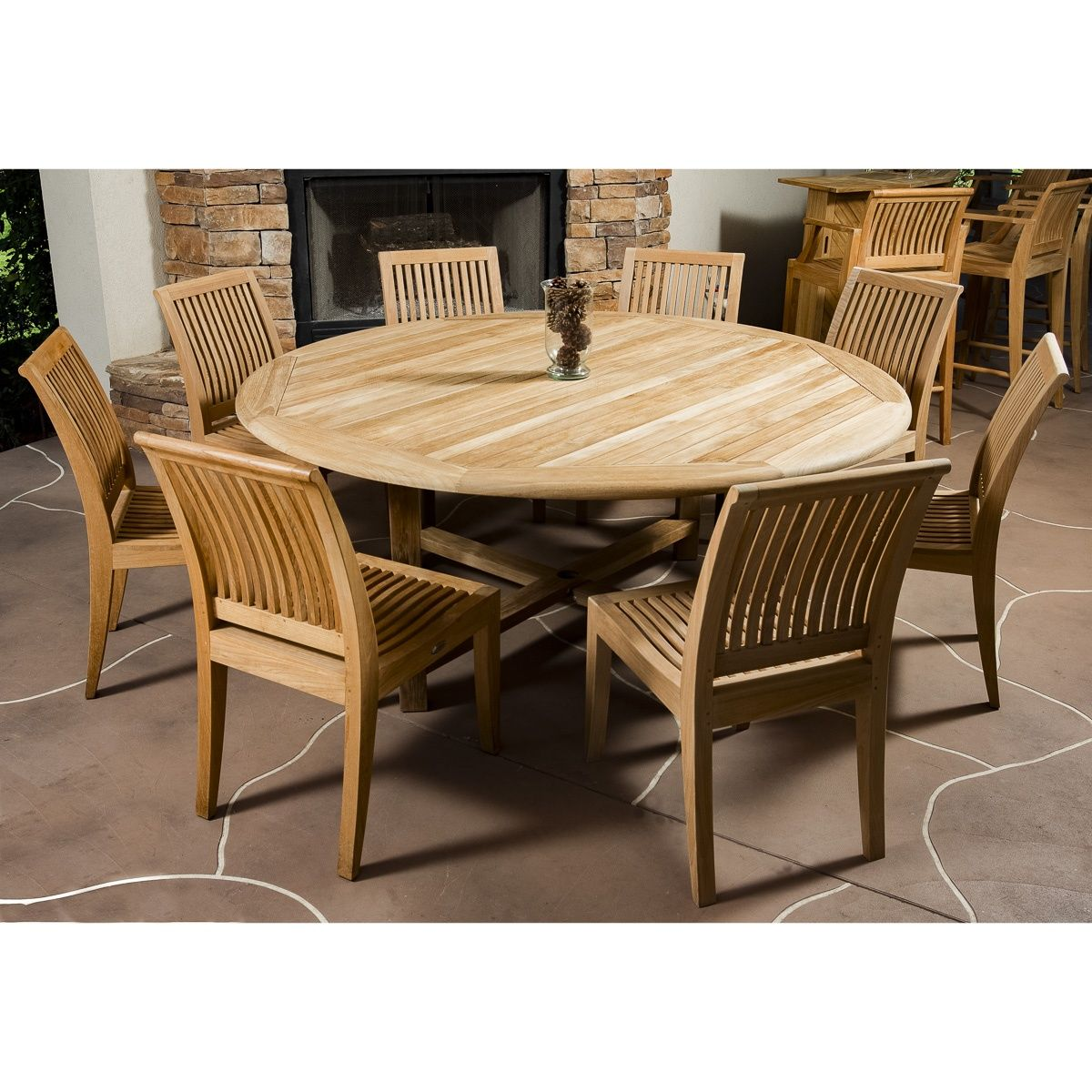 9pc Teak Round Table Dining Set Teak Outdoor Furniture Luxury