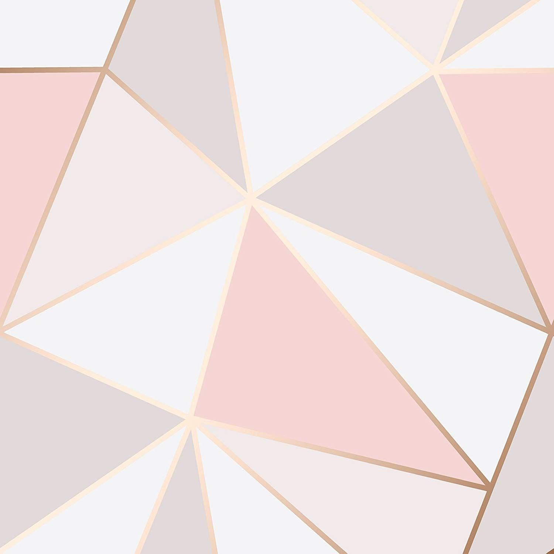 Fine Decor Fd41993 Uk Apex Geo Sidewall Wallpaper Rose Gold