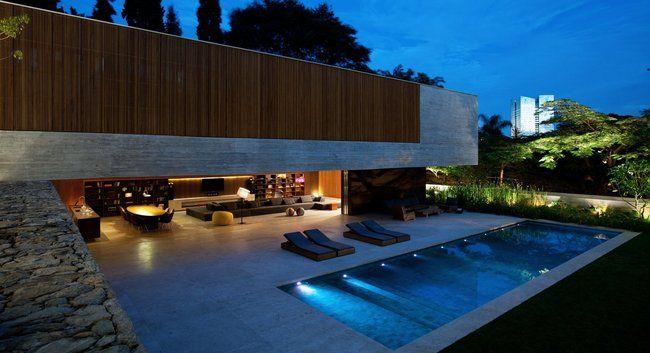 Casas modernas 2017 120 im genes de exteriores e - Piscinas interiores pequenas ...
