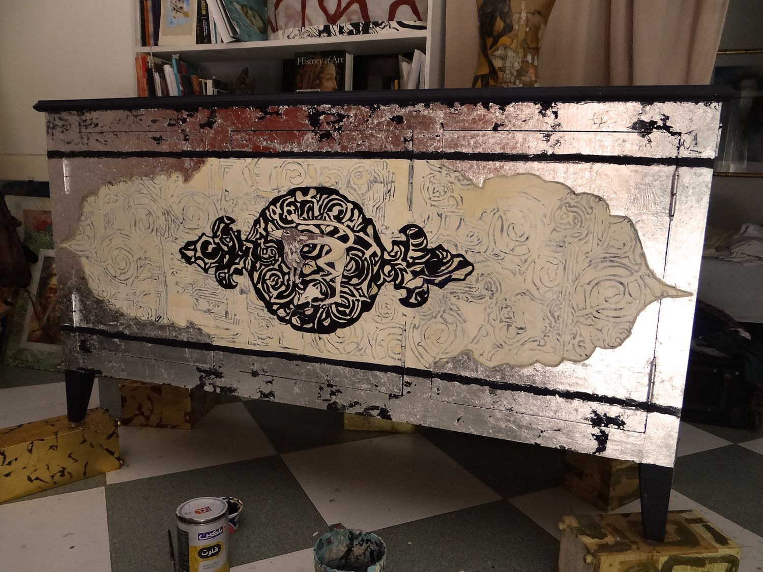 BUFFET FURNITURE design, collage paper, paint, silver leaf. www.lukashevich.com