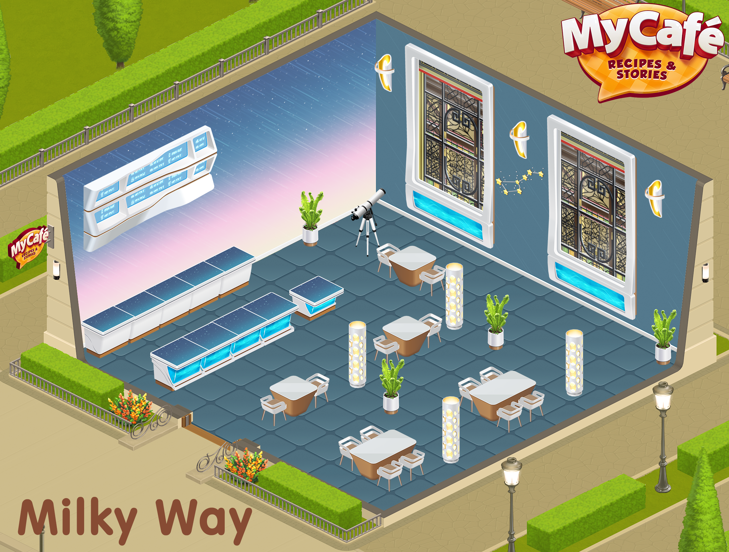 Milky Way Northern Lights My Cafe Game Mycafe Mycafegame Cafe Cafe Decor Cafe Design