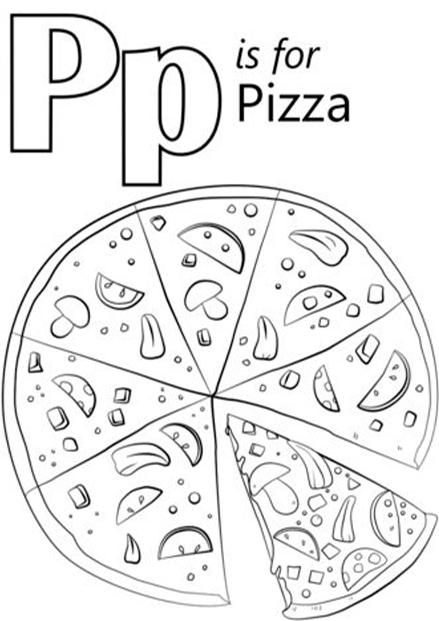 Free Easy To Print Pizza Coloring Pages Alphabet Coloring Pages Alphabet Kindergarten Alphabet Worksheets Kindergarten