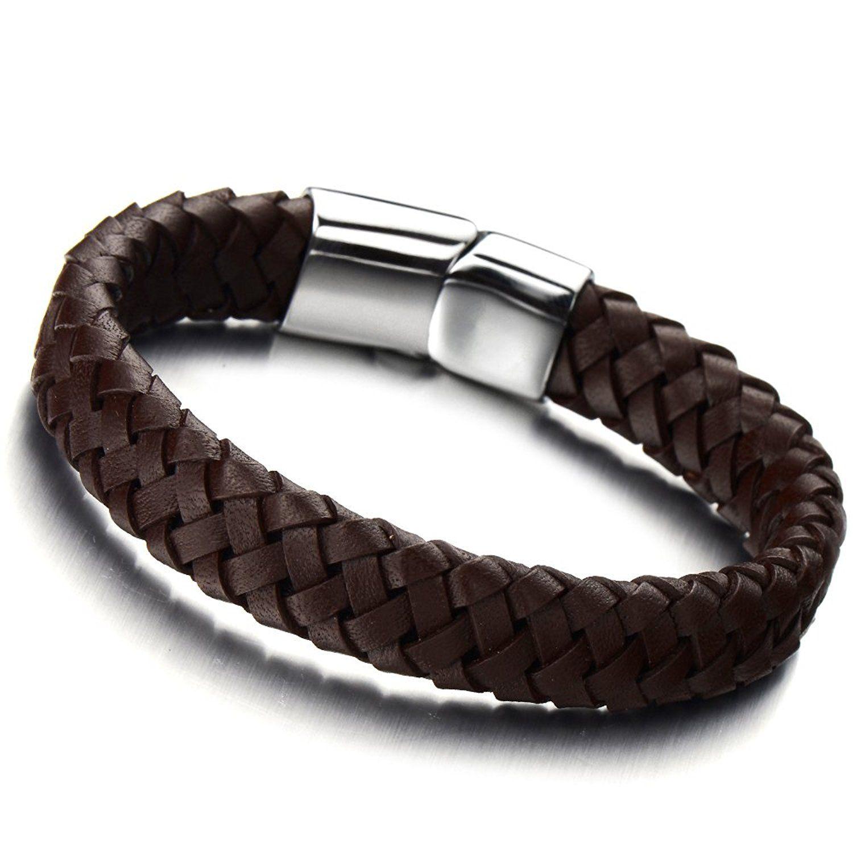 Men leather bracelet gift ideas for men silver brown binden