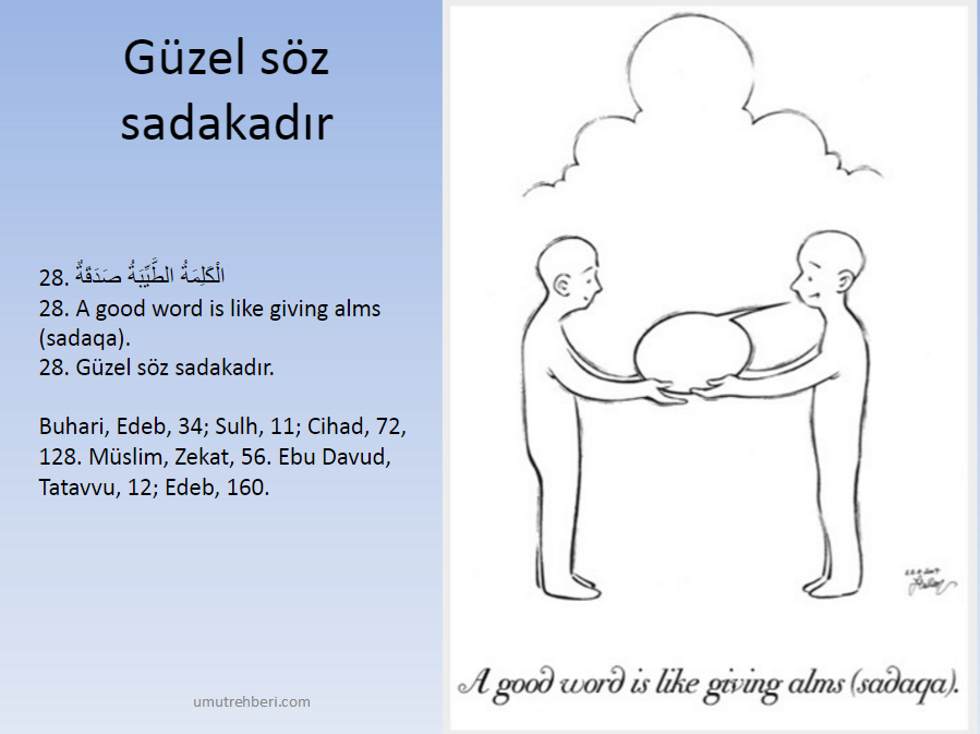 الكلمة الطيبة صدقة A Good Word Is Like Giving Alms Sadaga Guzel Soz Sadakadir
