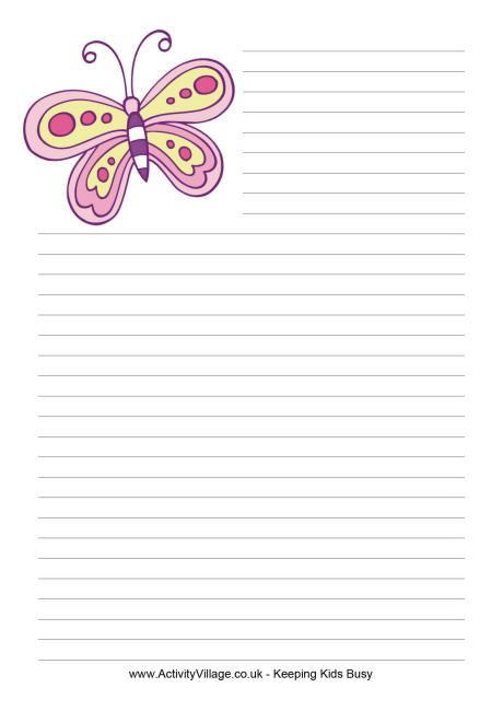 Butterfly writing paper 2 *Stationery  Writing Paper - college ruled lined paper template