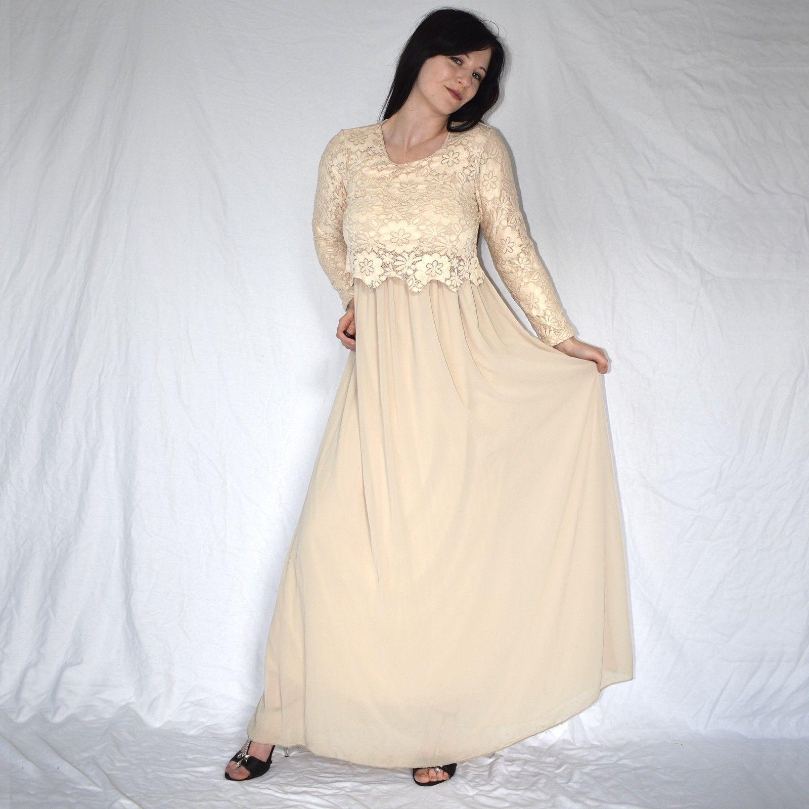 Details zu elegantes COCKTAILKLEID in beige* S Tüllkleid mit Spitze ...