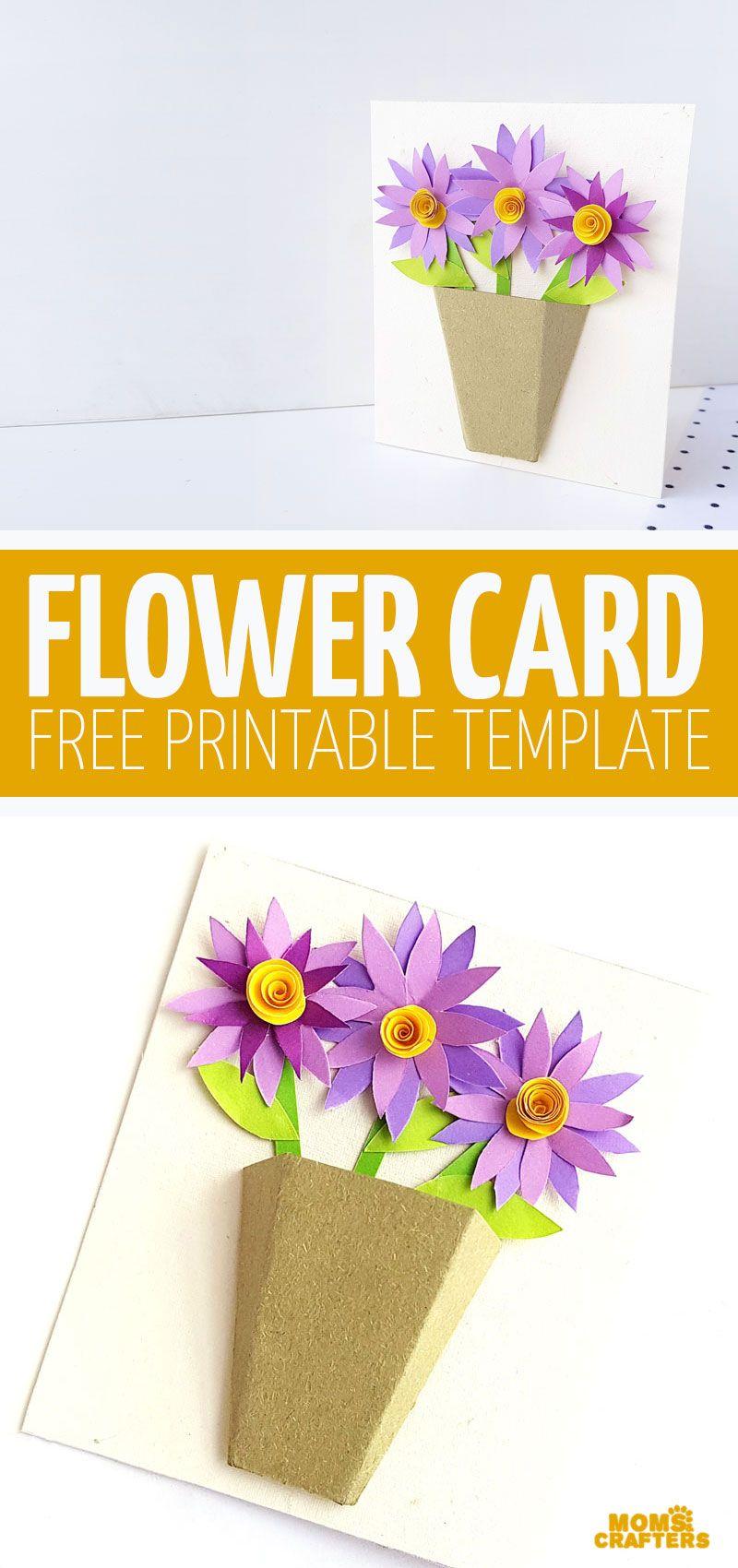 3d Flower Bouquet Card Paper Flower Diy Card Free Printable Card Templates Paper Flowers Diy Flower Templates Printable Free