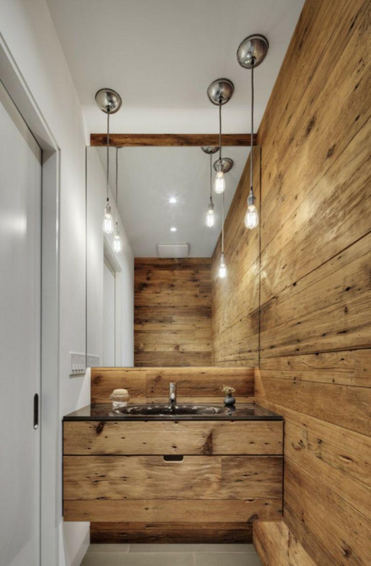 Bano rustico pared lavabo madera ideas interiorismo y for Lavamanos rusticos de madera