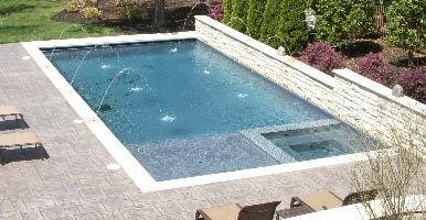 Pool With Integrated Spa Baja Shelf Rectangle Pool Swimming Pools Backyard Backyard Pool Designs