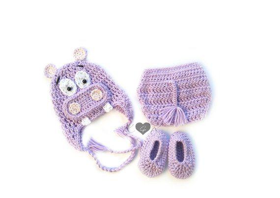Hippopotamus Baby Set, Crochet Hippo Hat, Hippo Diaper Cover, Purple Booties, Baby Hippo Costume, Hi #babyhippo