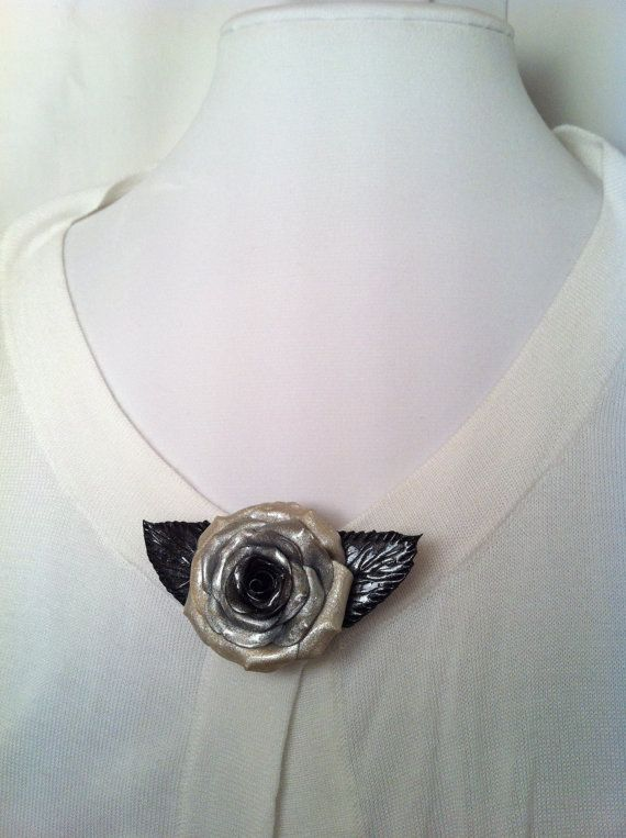 Silver Handcrafted Polymer Rose with Leaves Brooch