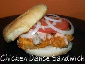 Tangy Chicken Sandwich made with Tabasco flavored cheese crackers!