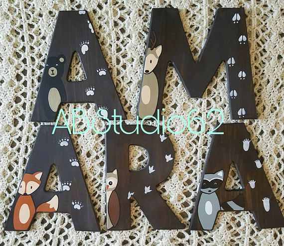 Wooden Letters For Nursery Woodland Nursery Decor Hand Painted Wood Letters Woodland Creatures Fre Painted Wood Letters Wood Letters Wood Letters Decorated