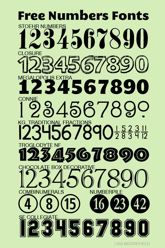 Free Numbers Fonts Lisa Moorefield