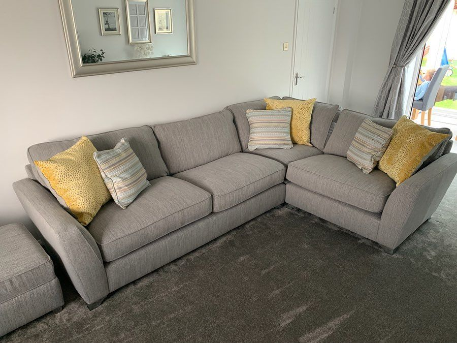 They Re Here New Corner Sofa Cuddle Chair Foot Stool And Patterned Cushions All From With Images Corner Sofa And Cuddle Chair Dfs Corner Sofa Happy Living Rooms