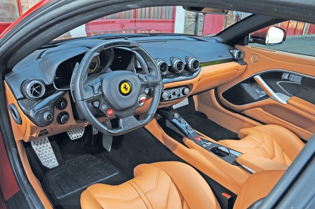 Ferrari F12 Berlinetta beige and black interior. brown