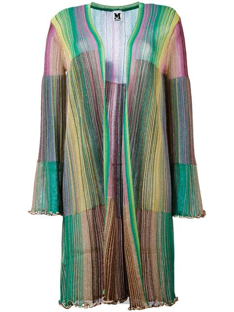 ea240739cc4 Shop M Missoni long metallic knit stripe cardigan.
