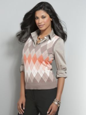 90fef4569d10 Women s Orange Argyle Sweater Vest by New York   Company Size Medium ...