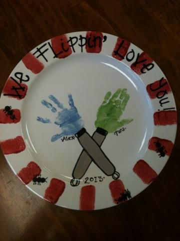 Made at paint a piece commack fathers day platter foothandprints made at paint a piece commack fathers day platter negle