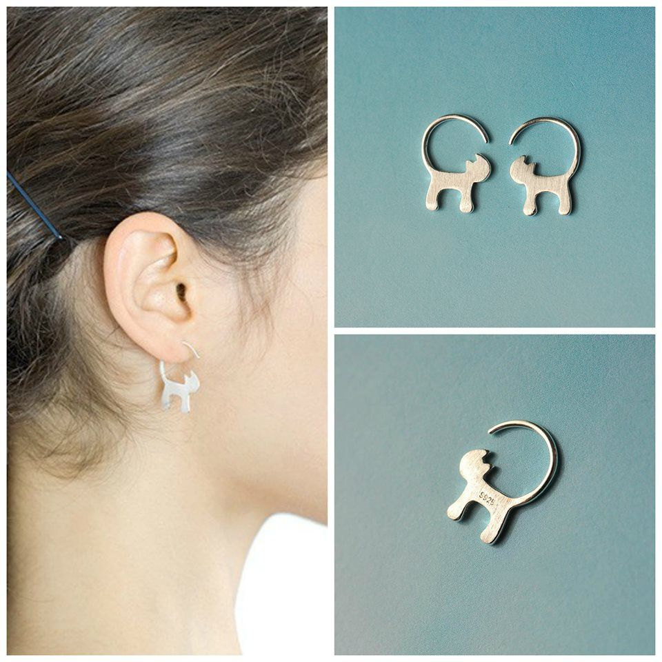 Sterling Silver Cat Tail Earrings 50 OFF TODAY Animal