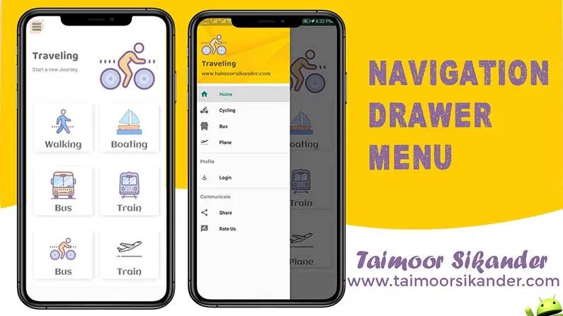 Navigation Drawer Material Design In Android 2020 Taimoor Sikander Material Design Navigation Android Navigation