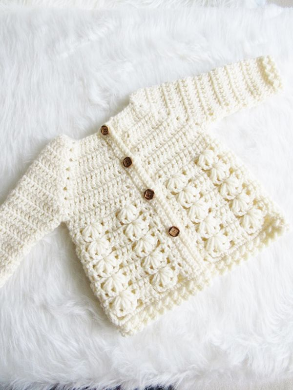 Textured Crochet Baby Sweater Pattern   Gorros bebe   Pinterest ...