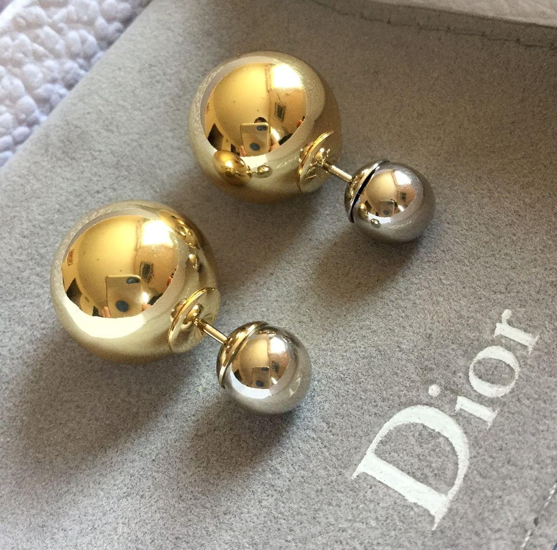 4ff9c1b8423184 GORGEOUS! new #DIOR TRIBALE Mise en Dior Tribal Earrings Palladium Silver  GOLD Asymmetric RARE